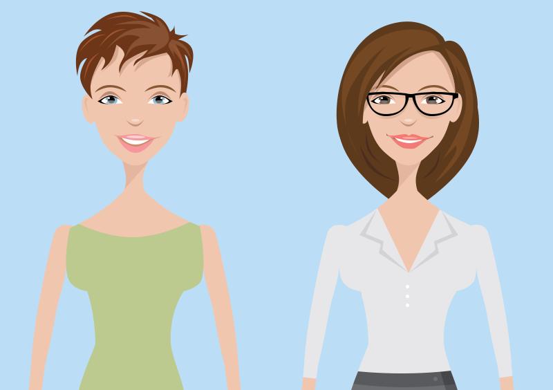 Two Female Cartoon Characters
